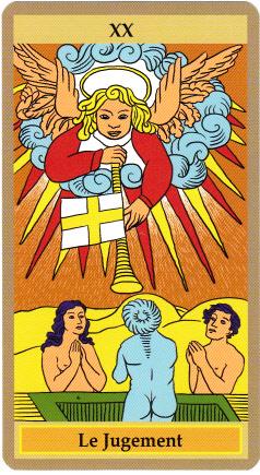 Le Jugement est dominé par un Séraphin, c'est-à-dire un ange brûlant, qui tient son nom de sa proximité avec le divin