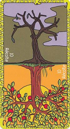 La carte Récolte de l'Oracle Fontaine peut être tirée droite ou renversée.