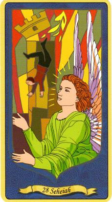 appeler les anges à la rescousse : avec sa tunique fluo, Seheiah