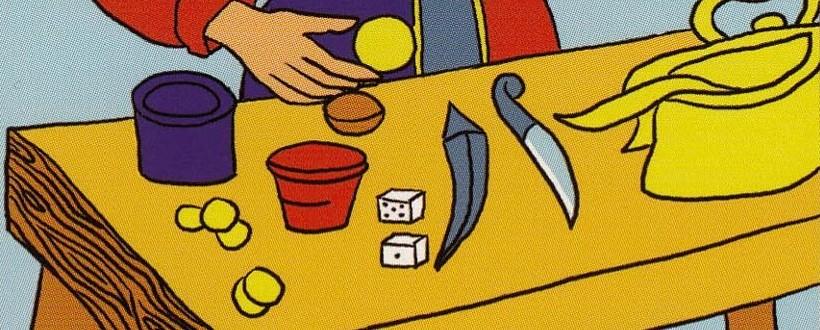 les symboles des quatre éléments sont sur la table du Bateleur
