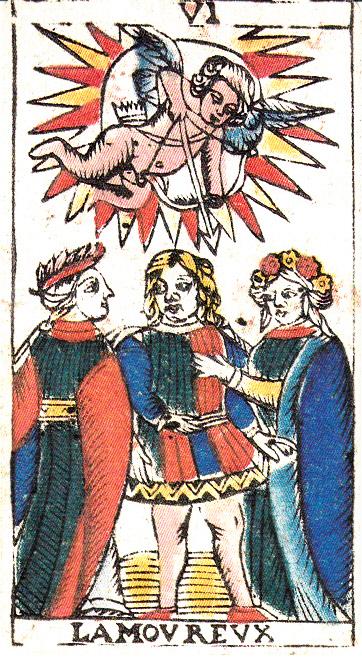 l'Amoureux, où Cupidon se plante devant l'astre solaire pour décocher sa flèche sur un malheureux qui n'en peut mais