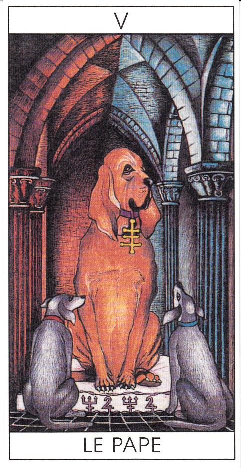Si la carte est en contre, par exemple dans le tirage en croix, le Pape se fait Tartuffe.