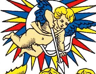 Le petit Cupidon qui surmonte la scène, la pointe droit vers le cœur du jeune homme.