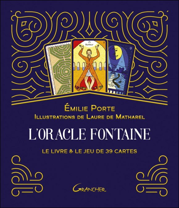 coffret bleu et or des cartes de l'oracle fontaine